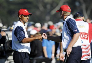 09-10-2009 The Presidents Cup, Harding Park Golf Course, San Francisco, California, USA. 06-11 Oct. Tiger Woods congratulates Steve Stricker on the 14th green, both of the United States Team during day two of the 2009 President's Cup at Harding Park Golf Course, San Francisco, California. After two days, the United States team leads 6 1/2 to 5 1/2.
