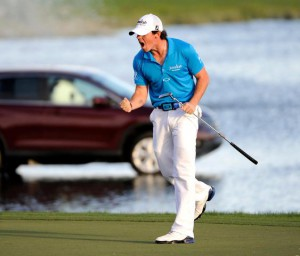 04-03-2012 PGA Tour 2012, The Honda Classic, PGA National Champion Course, Palm Beach Gardens, Fla, USA. 01-04 Mar. Rory  McIlroy of Northern Ireland yells and pumps his fist at the 18th hole as he celebrates winning  the final round
