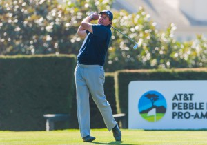 13-2-2016 PGA Tour 2016, AT&T Pebble Beach Pro-Am, Pebble Beach Golf Links, Pebble Beach, CA, USA. 11-14 Feb. Phil  Mickelson of United States tees off on the 1st hole during the third round.