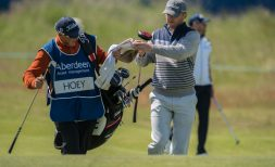 09-07-15 European Tour 2015, Aberdeen Asset Management Scottish Open, Gullane GC, Gullane, East Lothian, Scotland, UK. 09 - 12 Jul. Michael  Hoey of Northern Ireland with caddie during the first round.