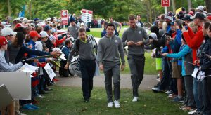 28-09-16 European Tour 2016, 41st Ryder Cup, Hazeltine National Golf Club, Chaska, Minnesota, USA. 27 Sep  - 02 Oct. Rory  McIlroy of Northern Ireland and Chris Wood walk to the 12th tee during the practise rounds.