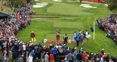 28-09-16 European Tour 2016, 41st Ryder Cup, Hazeltine National Golf Club, Chaska, Minnesota, USA. 27 Sep  - 02 Oct. Rory  McIlroy of Northern Ireland tees off on the 18th hole during the practise rounds.
