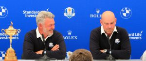 27-05-16 European Tour 2016, BMW PGA Championship, Wentworth Club, Virginia Water, Surrey, England, UK. 26-29 May. Darren Clarke of Northern Ireland Darren Clarke (NIR) announces Paul Lawrie (SCO), Padraig Harrington (IRL) and Thomas Bjorn (DEN) as his vice-captains for The 2016 Ryder Cup to be played at Hazeltine National Golf Club from 30th September to 2nd October 2016 Picture Stuart Adams, after a press conference on day two.