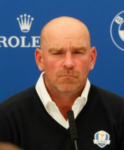 27-05-16 European Tour 2016,  BMW PGA Championship, Wentworth Club, Virginia Water, Surrey, England, UK. 26-29 May. Thomas  Bjorn of Denmark Darren Clarke (NIR) announces Paul Lawrie (SCO), Padraig Harrington (IRL) and Thomas Bjorn (DEN) as his vice-captains for The 2016 Ryder Cup to be played at Hazeltine National Golf Club from 30th September to 2nd October 2016 Picture Stuart Adams,  after a press conference on day two.